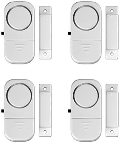 4 er Packung Minialarm, Mini-Fensteralarm für Fenster, Türen und Schränke