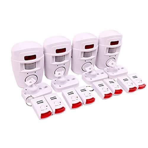 WER Hausalarm Bewegungsmelder Alarmanlage Bewegungssensor + 2 Fernbedienungen, drahtlose PIR Infrarot Security, Alarm mit Bewegungserkennung Alarmmelder Funk (4 Stück)