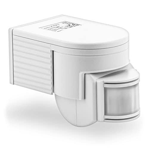 deleyCON PREMIUM Infrarot Bewegungsmelder - für Innen- und Außenbereich - 180° Arbeitsfeld - Reichweite bis 12m - Dreh-/Neigbarer Erfassungsbereich - IP44 Schutzklasse - Spritzwasser geschützt - Weiß