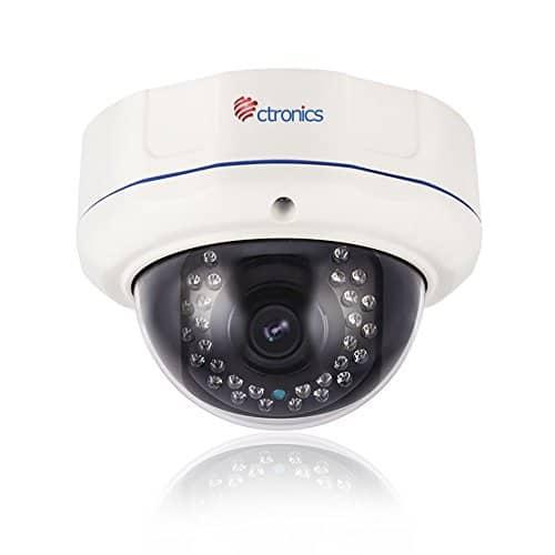 Ctronics Security PoE-Sicherheits-Dome-IP-Kamera 2 Megapixel 1920 x 1080 Pixel 4-fache optische Zoom Außen/Vandalismusgeschützt mit 2.8-12mm Gleitsicht Motorisierter Zoom Len und 30 IR-LED bis zu 100FT IR Entfernung - (Auto Zoom)