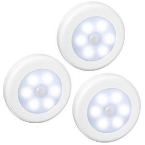 Amir Nachtlicht Lampe, LED-Licht mit Bewegungsmelde / Stick-Anywhere-Innen für den Schrank oder die Schublade, Treppen, Schlafzimmer, Küche, Kinderzimmer / 3 Stück Weiß batteriebetrieben