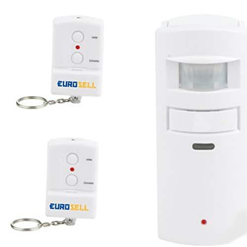 Mini Alarmanlage Set - Wand Bewegungsmelder + Sirene Alarm + 2 x Fernbedienung - Security Alarm mit Bewegungserkennung