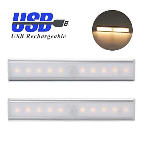 MAXAH® 2x USB Wiederaufladbare Sensor Lampe 10 LED 3 Modi PIR Infrarot-Lichterfassung mit Schalter und Bewegungsmelder Magnetisches Nachtlicht für Schlafzimmer,Schrankschublade,Treppe usw.(3 Modi,Warmweiß)