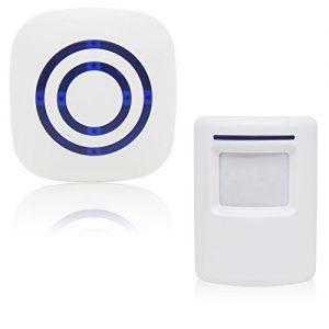Xcellent Global Drahtloser Auffahrt-Alarm Infrarot-Sensor Heim Sicherheit Türklingel Alarm mit Steckempfänger und 38-Klingeltönen HG169E