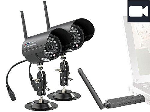 VisorTech Digitales PC-Funk-Überwachungssystem mit 2 Infrarot-Kameras