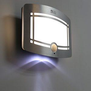 LED Sensorleuchte   EZOWare Drahtlos LED Wandleuchte / Nachtlicht mit Bewegungssensor für Flur, Treppe, Innen, Draußen, Schlafzimmer, Wohnzimmer - Silber / 2er-Pack