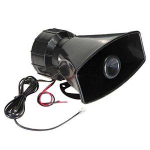 Forepin® 80W 12V 5 Geräusche Super Laut Auto Warnung Alarm Lautsprecher Hörner Hupe Signalhorn Polizei Feuerwehr Sirene PA-Lautsprecher MIC-System