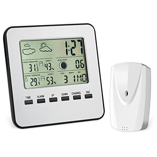 Funk Wetterstation Innen Außen, Oria® Digitales Wetterstation mit Hygrometer Thermometer Wetterprognose Dual Alarm und Anzeige auf Außensensor