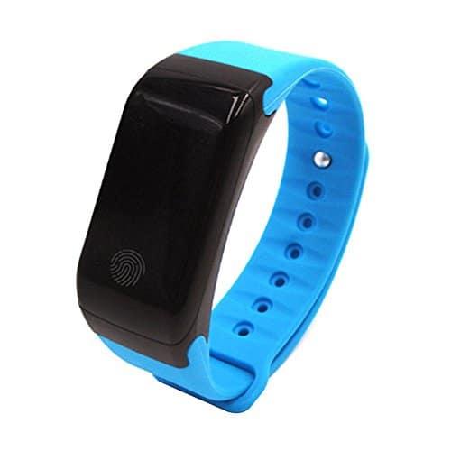 KOBWA Schrittzähler-Herzfrequenz-Monitor-smart Fitness-tracker Armband, Wasserdichte IP67 Sportuhr, Drahtlose Bluetooth 4.0-Aktivitäts-Tracker mit SMS Anrufe Vibrationsalarm für Android IOS Smartphone(BLAU)