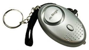 NAGO Mini Alarm Schlüsselanhänger Taschenalarm Notfallalarm Panikalarm mit LED Leuchte Sirene ca. 140 dB silber