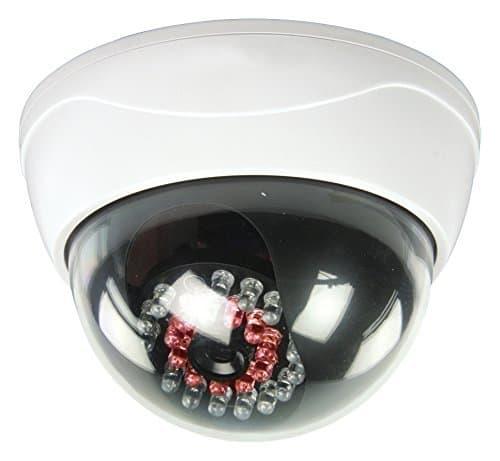 Eurosell KAMERAATTRAPPE IP44 Profi Dome Kamera Dummy mit leuchtenden IR LEDs + blinkender LED - Tolle Überwachungskamera Attrappe Aussenbereich Kameraatrappe Innen Außen Fake Überwachung Haus Sicherheit Security