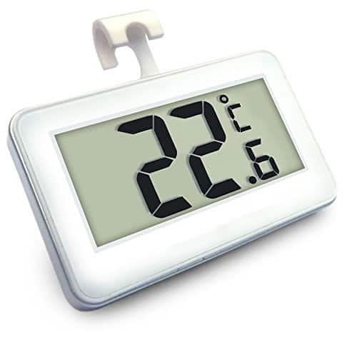 Digitalen Kühlschrank Thermometer Alarm Kühlschrank Gefrierschrank Thermometer Messgerät mit Haken weiß 1 Stk