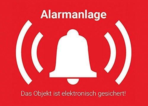 Warnaufkleber Alarmanlage mit UV-Schutz, Alarm Aufkleber Sticker außen, Objekt alarmgesichert, Hinweis Alarmanlage als Einbruchschutz für Fenster, Haus, Kellerfenster, KFZ um Einbrecher abzuschrecken, TOP Fensterfolie