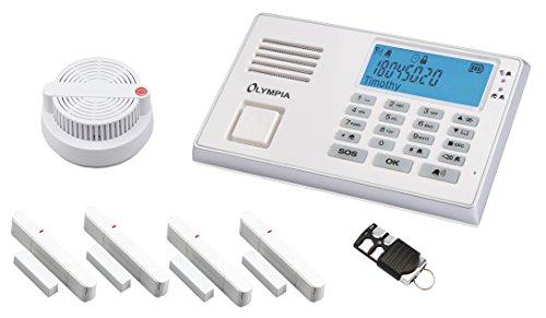 OLYMPIA Drahtloses GSM-Alarmanlagen-Set mit Notruf und Freisprechfunktion, weiß, Modell Protect 9065