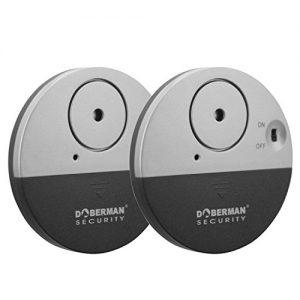 WER DOBERMAN SECURITY Ultra-Dünner Fensteralarm mit lautem 100dB Alarm und Vibrationssensoren - Moderne und ultra-dünnen Design Kompatibel mit praktisch jedem Fenster - ideal für zu Hause, Büro, Schlafsaal oder auch RVs - Modell SE-0106 - [2 Stück]