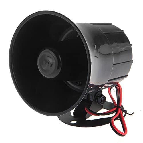 6 Klang 12V Signalhorn Alarm Sirene Hupe Fanfare für Auto KFZ Schwarz