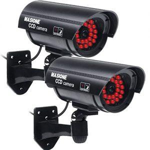 2xWasserdichte Nachsicht Kamera-Attrappe CCTV Dummy-Kamera CCD Fake Überwachungskamera Sicherheitskamera Für Außen /Innen