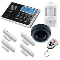 Olympia Protect 9061 GSM Funk Alarmanlage Überwachung-Set mit Deckenkamera-Attrappe, Bewegungsmelder, Tür Fenster/Kontakten und Fernbedienung