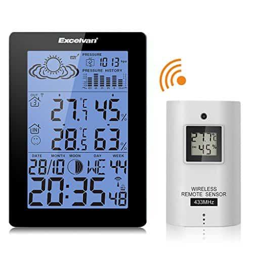 EXCELVAN Wireless Wetterstation Funkwetterstation mit Wetterprognose Thermometer Hygrometer Dual Alarm Barometer Mondphase und Anzeige auf Außensensor