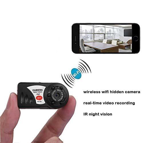 Mini Übwerwachungskamera mit bewegungsmelder, Xingan Kabellose HD P2P WiFi Versteckte IP Kamera mit Aufzeichnung für Innen / Außen Sicherheits, Unterstützt iPhone / Android Smartphone / Tablet und PC , Schwarz