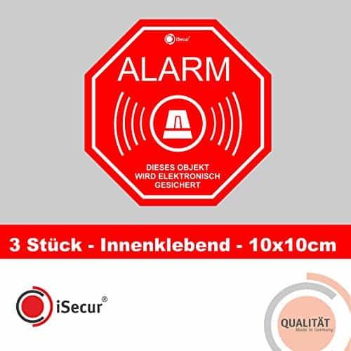 """3 Stück Aufkleber """"Alarm"""", iSecur, alarmgesichert, 100x100mm, Art. hin_167_innen, Hinweis auf Alarmanlage, innenklebend für Fensterscheiben, Haus, Auto, LKW, Baumaschinen"""