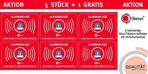 """5 Stück Aufkleber """"Alarm"""", iSecur, alarmgesichert, 50x35mm Art. hin_109_außen, Hinweis auf Alarmanlage, außenklebend für Fensterscheiben, Haus, Auto, LKW, Baumaschinen"""