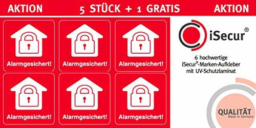 """5 Stück Aufkleber """"Alarm"""", iSecur, alarmgesichert, 40x40mm, Art. hin_070_außen, Hinweis auf Alarmanlage, außenklebend für Fensterscheiben, Haus, Auto, LKW, Baumaschinen"""