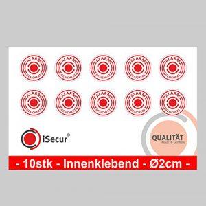 """10 Stück Aufkleber """"Alarm"""", iSecur, alarmgesichert, Durchmesser 20mm, Art. hin_004_20mm_innen, Hinweis auf Alarmanlage, innenklebend für Fensterscheiben, Haus, Auto, LKW, Baumaschinen"""