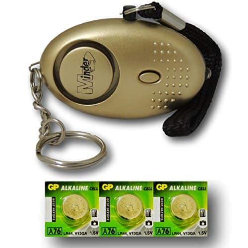 Mini Minder Key Ring Persönliche Angriff Rape Alarm 140dB mit Fackel (Gold) + Ersatz Batterie-Set