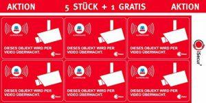 """5 Stück Aufkleber """"Video überwacht"""", iSecur, alarmgesichert, 60x40mm, Art. hin_085_außen, Hinweis auf Alarmanlage, außenklebend für Fensterscheiben, Haus, Auto, LKW, Baumaschinen"""
