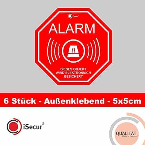 """6 Stück Aufkleber """"Alarm"""", iSecur, alarmgesichert, 50x50mm, Art. hin_164_außen, Hinweis auf Alarmanlage, außenklebend für Fensterscheiben, Haus, Auto, LKW, Baumaschinen"""