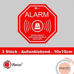 """3 Stück Aufkleber """"Alarm"""", iSecur, alarmgesichert, 100x100mm, Art. hin_165_außen, Hinweis auf Alarmanlage, außenklebend für Fensterscheiben, Haus, Auto, LKW, Baumaschinen"""