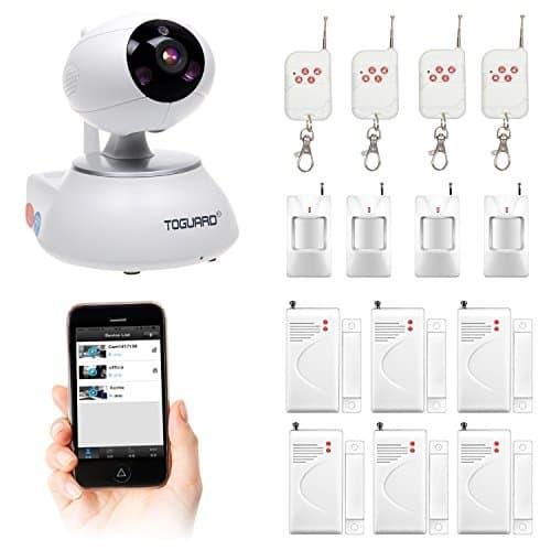 WLAN IP Kamera, Home Security Alarm System, WiFi Überwachung, Nachtsicht, Pan/Tilt Kamera mit Türsensor und PIR (Körperbewegungserkennung), Fernbedienung
