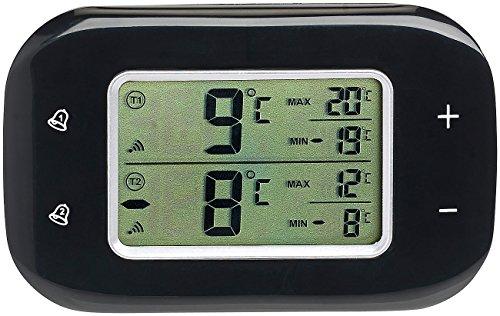 Rosenstein & Söhne Digitales Kühl- & Gefrierschrank-Thermometer, 2 Funk-Sensoren, schwarz