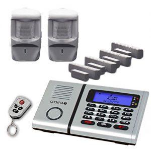 Olympia Premium Plus Drahtloses Alarmanlagen-Set 6061 mit 2 Bewegungsmeldern, Notruf- und Freisprechfunktion und Integrierter Telefonwähleinheit