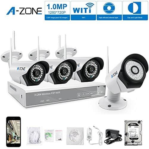 A-ZONE 4 Kanals Haus Videoüberwachungssystem mit Bewegungsmelder, 960P NVR / 4 x 720P Funk Überwachungskamera Set Außen IP Wlan Kamera, mit 2T Festplatte