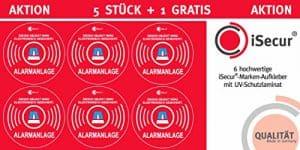 """5 Stück Aufkleber """"Alarm"""", iSecur, alarmgesichert, 40mm Durchmesser, Art. hin_089_40mm_außen, Hinweis auf Alarmanlage, für Fensterscheiben, Haus, Auto, LKW, Baumaschinen"""