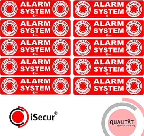 """10 Stück Aufkleber """"Alarm"""", iSecur, alarmgesichert, 120x30mm, Art. hin_046_außen, Hinweis auf Alarmanlage, außenklebend für Fensterscheiben, Haus, Auto, LKW, Baumaschinen"""