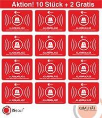 """10 Aufkleber """"Alarm"""", iSecur, alarmgesichert, 5x3,5cm, Art. hin_047_10er_außen, 2 Aufkleber gratis, Hinweis auf Alarmanlage, außenklebend für Fensterscheiben, Haus, Auto, LKW, Baumaschinen"""