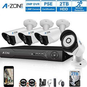 A-ZONE AHD Videoüberwachungssystem Aufzeichnung 4 Kanals 1080P DVR Rekorder 4x 1.3MP Nachtsicht Kamera Überwachung außen mit Bewegungsmelder, mit 2TB Festplatte