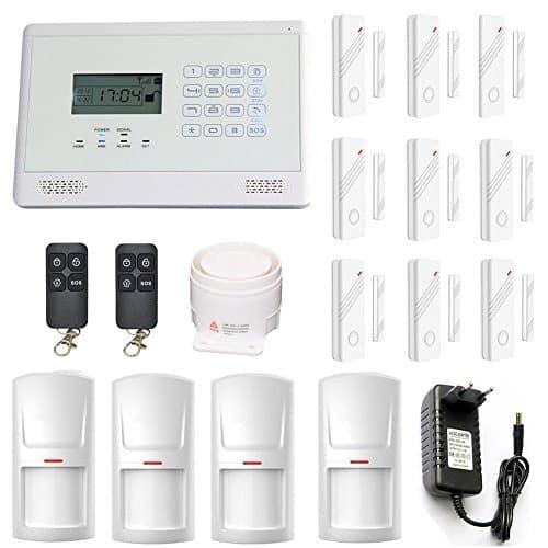 ABTO komplettes drahtloses GSM Home Security Alarm-System zur Absicherung von 9 Türen oder Fenstern über Magnetkontakte und 4 Räumen über Bewegungsmelder Mit 2 Fernbedienungen