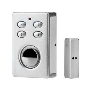 KOBERT GOODS - SP65 drahtloser Tür-, Fenster- oder Vitrinenalarm Farbe SILBER Einsatz als Alarmanlage, Einbruchsschutz, Home-Security Mit PIN-Code-Eingabe, Magnet / Vibrationssensor sowie 130 db-Sirene
