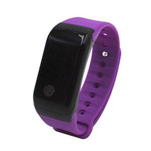 KOBWA Schrittzähler-Herzfrequenz-Monitor-smart Fitness-tracker Armband, Wasserdichte IP67 Sportuhr, Drahtlose Bluetooth 4.0-Aktivitäts-Tracker mit SMS Anrufe Vibrationsalarm für Android IOS Smartphone (LILA)