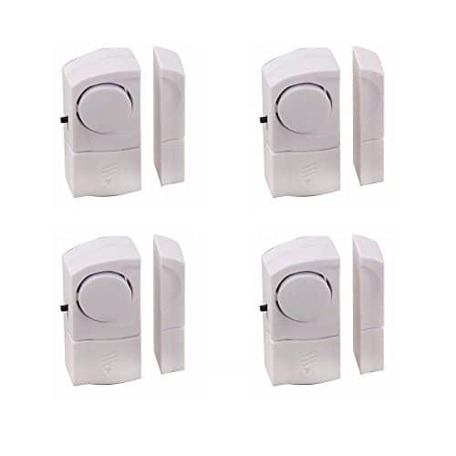 Vetech ALAM4 Set 4 er Packung Minialarm, Mini-Set für Türen/Fenster, weiß