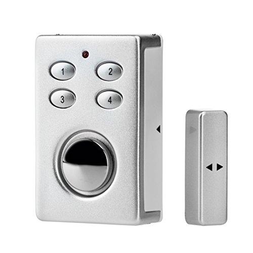 KOBERT GOODS – SP65 SILBER drahtloser Tür Fenster Garage oder Vitrinen Alarm, Einsatz als Alarmanlage, Einbruchsschutz, Mit PIN Code Eingabe, Magnet/Vibration/Erschütterung Sensor sowie 130db Sirene